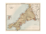 Map of Cornwall, England, 1870s Giclee Print