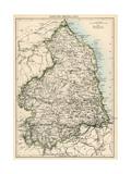 Karte von Northumberland, England, 1870s Giclée-Druck