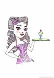 Malt Shop Girl Prints by Sara Gayoso