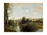 Seine And Old Bridge At Limay Giclee Print by Jean-Baptiste-Camille Corot