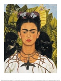 Zelfportret met doornen halsketting en kolibrie, 1940 Kunst van Frida Kahlo