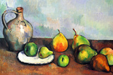 Paul Cezanne Still Life Jar and Fruit Print van Paul Cézanne