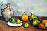 Paul Cezanne Still Life Jar and Fruit 高品質プリント : ポール・セザンヌ