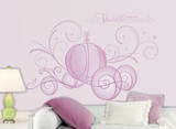 Disney Princess - Scroll Carriage Peel & Stick Giant Wall Decals w/Glitter Muursticker