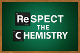 Respect the Chemistry Chalkboard Television Plastic Sign Placa de plástico