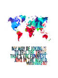 World Map Quote Muhammad Ali Print by  NaxArt