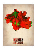 Munich Watercolor Map Pôsters por  NaxArt