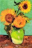 Vincent Van Gogh Three Sunflowers in a Vase 2 Plastic Sign Placa de plástico