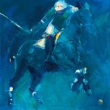 Polo Players - Blue Giclee Print by Neil Helyard