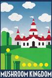 Mushroom Kingdom Retro Travel Plastic Sign Plastskilt