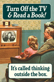 Turn Off TV Read A Book Thinking Outside The Box Funny Plastic Sign Placa de plástico por  Ephemera