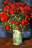 Vincent Van Gogh Vase with Red Poppies Plastic Sign Plastikschild