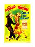 SHALL WE DANCE, from left: Fred Astaire, Ginger Rogers on midget window card, 1937 Julisteet