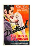 THE DEVIL IS A WOMAN, from left: Cesar Romero, Marlene Dietrich, 1935 Plakat