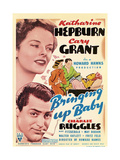 Bringing Up Baby, Katharine Hepburn, Cary Grant on window card, 1938 Posters