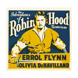 THE ADVENTURES OF ROBIN HOOD, Errol Flynn on jumbo window card, 1938 Pôsters