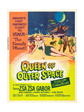 QUEEN OF OUTER SPACE, foreground: Zsa Zsa Gabor on poster art, 1958 Pôsteres