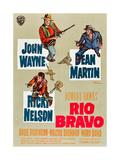 RIO BRAVO, clockwise: John Wayne, Dean Martin, Ricky Nelson on German poster art, 1959. Poster