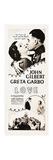 LOVE, l-r: Greta Garbo, John Gilbert on insert poster, 1927. Poster