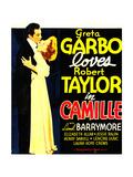Camille, Robert Taylor, Greta Garbo on window card, 1936 Pôsters