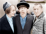 The Three Stooges, from left: Larry Fine, Moe Howard, Curly Howard, ca. 1943 Foto