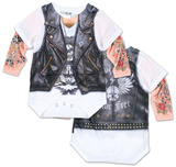 Infant: Long Sleeve Tattoo Biker Costume Romper Body para bebê