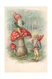 Mushroom with Gnomes Lámina giclée