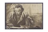 Ludwig Van Beethoven, German Composer and Pianist (1770-1827) Gicléedruk van Gustav Heinrich Eberlein