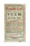 Paradise Lost by John Milton (1608-1674) Lámina giclée
