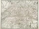 Map of Paris, from 'L'Atlas De Paris' by Jean De La Caille, 1714 Gicléetryck