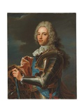 Portrait of the Duc De Broglie, in Sash of the Order of Sainte Esprit, with Baton of a Marshal of… Giclee Print by Hyacinthe Rigaud