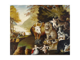 Peaceable Kingdom, C.1834 Giclée-tryk af Edward Hicks