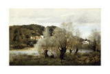 Fisherman on the Edge of a Pond in the Village of Avary; Pecheur Au Bord De L'Etang a Ville… Reproduction procédé giclée par Jean-Baptiste-Camille Corot