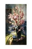 Apple Blossoms and Blue and White Porcelain on a Table Lámina giclée por Frans Mortelmans