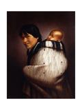 Ana Rupene and Child Giclee Print by Gottfried Lindauer