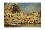 View of the Ghats at Benares, 1873 Gicléedruk van Edwin Lord Weeks