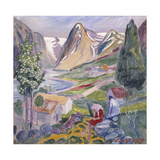 Kari at Sunde; Kari Paa Sunde Giclee-trykk av Nikolai Astrup
