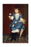 Daisy Mccomb Holding a Pink Rose, 1888 Gicléedruk van John George Brown
