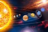 Solar System Planets Bedruckte aufgespannte Leinwand von Jose Antonio