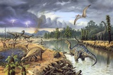 Early Cretaceous Life, Artwork Stampa fotografica di Richard Bizley