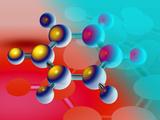 Benzene Molecule Fotografisk tryk af Laguna Design