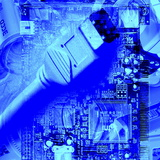 FireWire Cable And PC Motherboard Reproduction photographique par Christian Darkin