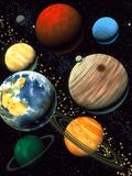 Computer Artwork Showing Planets of Solar System Fotografie-Druck von Roger Harris