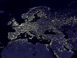 Europe At Night, Satellite Image Lámina fotográfica