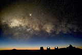 Milky Way And Observatories, Hawaii Photographic Print by David Nunuk