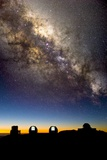 Mauna Kea Telescopes And Milky Way Photographic Print by David Nunuk