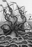 Octopus Attacking a Ship Fotografie-Druck von Middle Temple Library