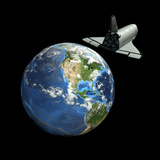 Space Shuttle And Earth Photographic Print by Friedrich Saurer