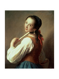 Young Girl Wearing a Pearl Earring Giclée-tryk af Pietro Antonio Rotari