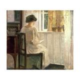 Girl Reading in a Sunlit Room Gicléetryck av Carl Holsoe